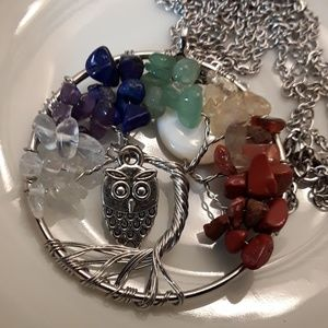 Jewelry - NEW Silver Plated Chakra Fullmoon Owl Tree of Life
